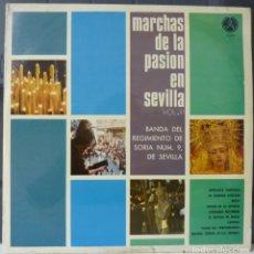 Discos de vinilo: MARCHAS DE LA PASION EN SEVILLA//BANDA REGIMIENTO DE SORIA Nº9 DE SEVILLA//1972/7(VG VG).LP. Lote 177341702