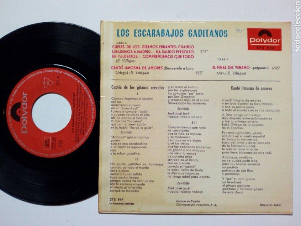 Discos de vinilo: LOS ESCARABAJOS GADITANOS - Cuplés de los Gitanos Errantes + El Final del Verano + 1 (Polydor, 1965) - Foto 2 - 177412334