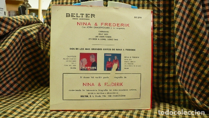 Discos de vinilo: nina & frederik - carnaval / my own town / billy boy / its been a long long time, belter 1960. - Foto 2 - 177455584