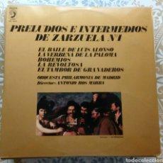 Discos de vinilo: PRELUDIOS E INTERMEDIOS DE ZARZUELA N°1. Lote 177485372