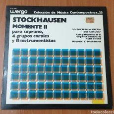 Discos de vinilo: LP STOCKHAUSEN - MOMENTE II (ESPAÑA, WERGO, 1978) COLECCION MÚSICA CONTEMPORÁNEA 23. Lote 177521143