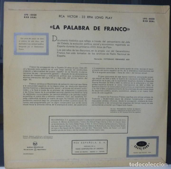 Discos de vinilo: LA PALABRA DE FRANCO//25 AÑOS DE PAZ//1964//(VG VG). LP - Foto 2 - 177556484