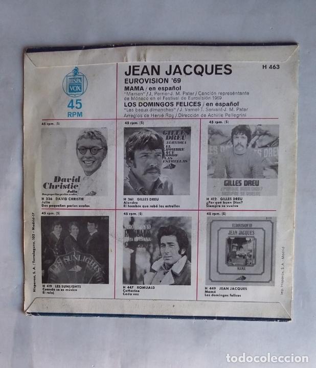 Discos de vinilo: JEAN JACQUES - EUROVISIÓN 69 - CANTA EN ESPAÑOL - MAMA - SINGLE. TDKDS19 - Foto 2 - 177566633