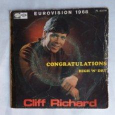 Discos de vinil: CLIFF RICHARD. CONGRATULATIONS HIGH 'N DRY. EUROVISION 1968. SINGLE. TDKDS19. Lote 177567335
