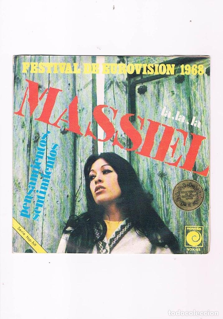 DISCO VINILO SINGLE MASSIEL FESTIVAL DE EUROVISION 1968 LA LA LA PENSAMIENTOS SENTIMIENTOS (Música - Discos - Singles Vinilo - Solistas Españoles de los 50 y 60)