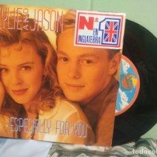 Discos de vinilo: KYLLIE MINOGUE & JASON DONOVAN ESPECIALLY FOR YOU SINGLE SPAIN 1988 PDELUXE. Lote 177689145