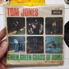 Discos de vinilo: SINGLE-TOM JONES-GREEN,GREEN,GRASS OF HOME 1966 EN FUNDA ORIGINAL. Lote 177718022