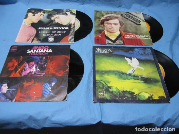 LOTE SINGLES ANDRES DO BARRO, JUAN Y JUNIOR Y SANTANA CON PEGATINA CEREZO BADAJOZ (Música - Discos - Singles Vinilo - Grupos Españoles de los 70 y 80)