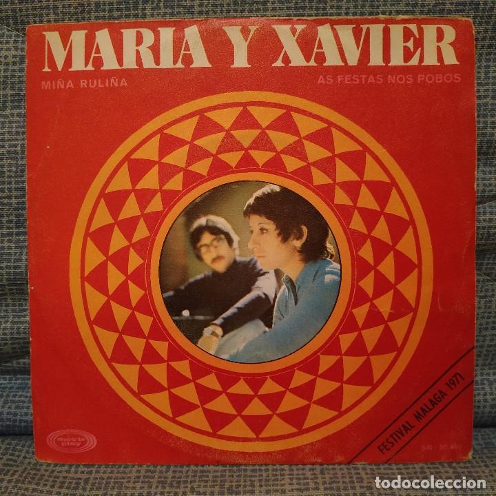 MARIA Y XAVIER - MIÑA RULIÑA / AS FESTAS NOS POBOS - SINGLE MOVIEPLAY ?– SN-20.486 DEL 1970 VG+ (Música - Discos - Singles Vinilo - Cantautores Españoles)