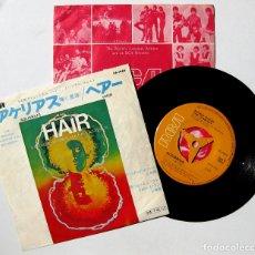 Discos de vinilo: HAIR ORIGINAL BROADWAY CAST - AQUARIUS / HAIR - SINGLE RCA 1969 JAPAN BPY. Lote 177816807