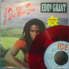 Discos de vinil: EDDY GRANT. I DON'T WANNA DANCE/ ACCAPELLA. ICE, GERMANY 1982 (RED VINYL) SINGLE. Lote 177835453