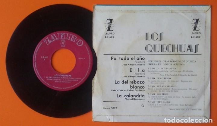 Discos de vinilo: LOS QUECHUAS PA TODO EL AÑO+3 EP ZAFIRO 1964 - Foto 2 - 177882192