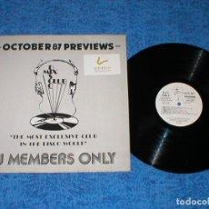 Discos de vinilo: DJ MEMBERS ONLY LP OCTOBER 87 PREVIEWS SAMANTHA FOX JANET JACKSON SANDRA BIG PIG INTRIGUE CHRIS PAUL. Lote 177982399