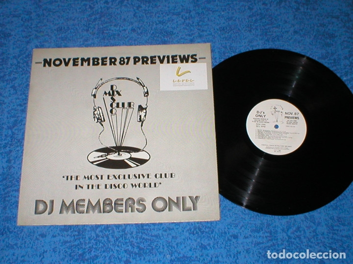 DJ MEMBERS ONLY LP NOVEMBER 87 PREVIEWS STING SUPERTRAMP JELLYBEAN LACE THE TAMS KOOL MOE DEE T-COY (Música - Discos - LP Vinilo - Disco y Dance)