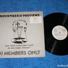 Discos de vinilo: DJ MEMBERS ONLY LP NOVEMBER 87 PREVIEWS STING SUPERTRAMP JELLYBEAN LACE THE TAMS KOOL MOE DEE T-COY. Lote 177984289