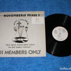 Discos de vinilo: DJ MEMBERS ONLY LP NOVEMBER 87 THE MIXES 2 MICHAEL JACKSON YELLOW EURYTHMICS SAMANTHA FOX JEFF WAYNE. Lote 177988243