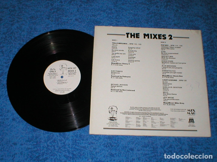 Discos de vinilo: DJ MEMBERS ONLY LP NOVEMBER 87 THE MIXES 2 MICHAEL JACKSON YELLOW EURYTHMICS SAMANTHA FOX JEFF WAYNE - Foto 2 - 177988243