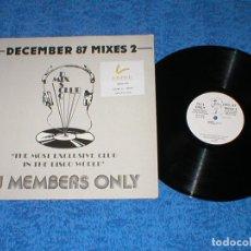 Discos de vinilo: DJ MEMBERS ONLY LP DECEMBER 87 THE MIXES 2 HOUSE HIP HOP PUBLIC ENEMY LL COOL J SALT N PEPA DEREK B. Lote 177989600