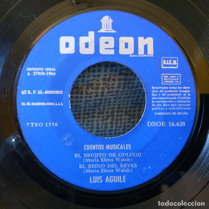 Discos de vinilo: LUIS AGUILE (CANTA PARA LOS NIÑOS) CANCIONES DE MARIA ELENA WALSH, EP CARPETA ABIERTA ODEON 1964 - Foto 4 - 178036642