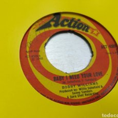 Discos de vinilo: BOBBY WILLIAMS SINGLE BABY I NEED YOUR LOVE U.K. 1968 ESCUCHADO. Lote 178044910