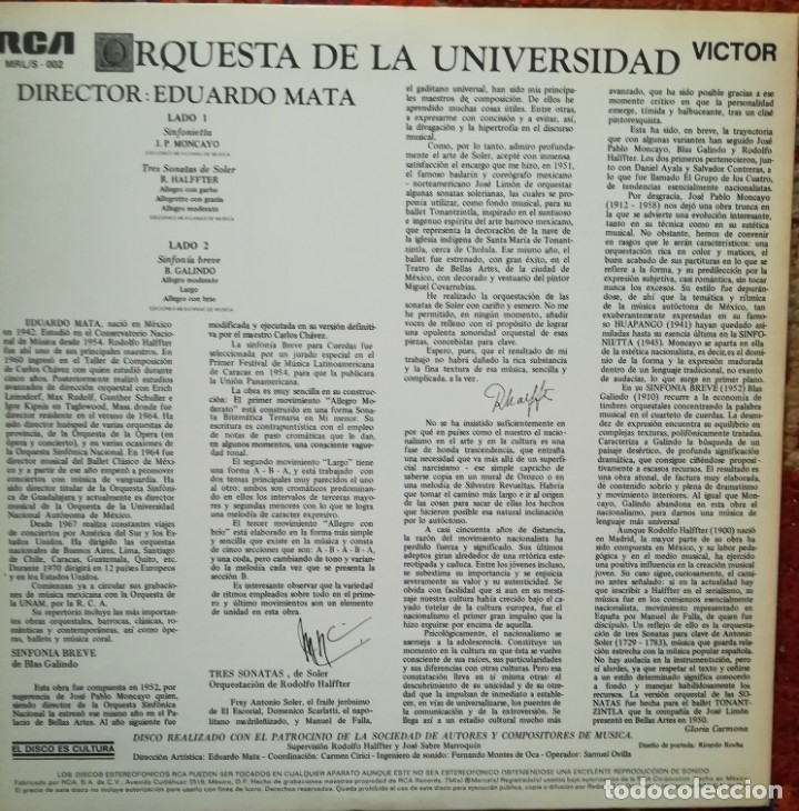 Discos de vinilo: Pablo Moncayo, Rodolfo Halffter y Blas Galindo piezas por la Orquesta Universidad.Dirige E.Mata - Foto 2 - 178066639