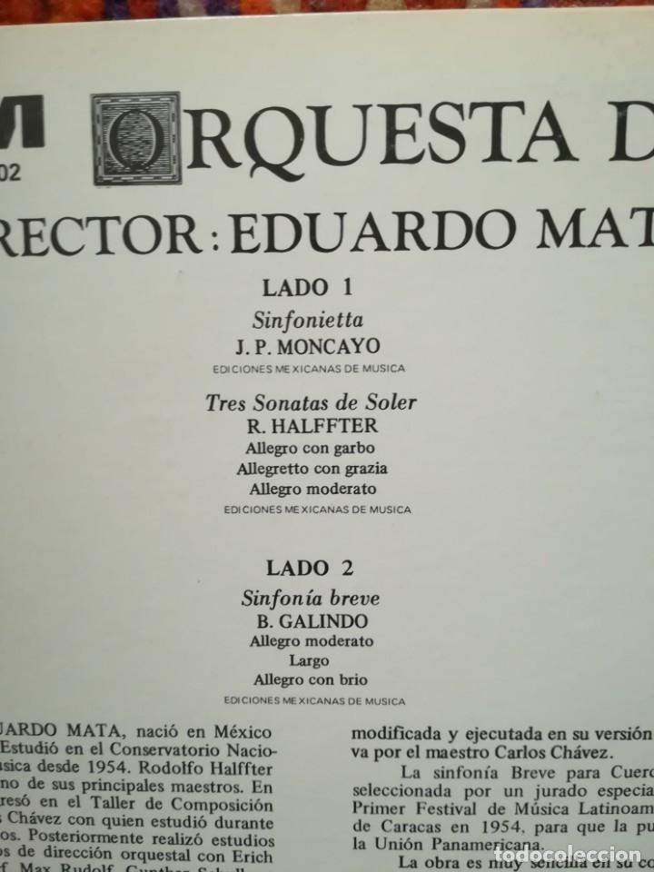 Discos de vinilo: Pablo Moncayo, Rodolfo Halffter y Blas Galindo piezas por la Orquesta Universidad.Dirige E.Mata - Foto 3 - 178066639