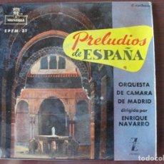 Discos de vinilo: ORQUESTA DE CAMARA DE MADRID ENRIQUE NAVARRO PRELUDIOS DE ESPAÑA ZAFIRO 1959 - ENVIO GRATIS. Lote 178121718