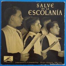 Discos de vinilo: EP / SALVE DE LA ESCOLANIA / SALVE GERMINANS - VIROLAI DE MONTSERRAT - TOTA PULCHRA. Lote 178156330