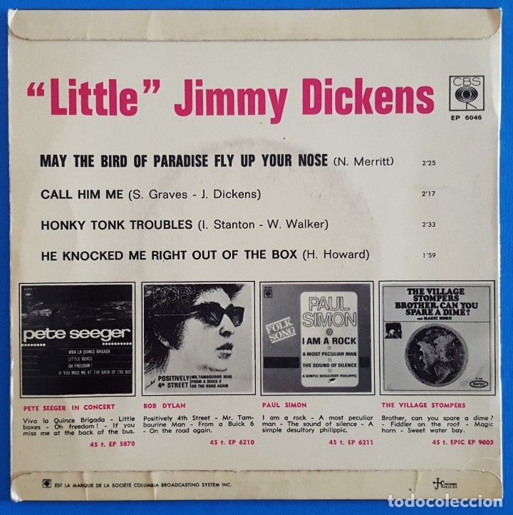 Discos de vinilo: EP / LITTLE JIMMY DICKENS / MAY THE BIRD OF PARADISE FLY UP YOUR NOSE - CALL HIM ME +2 - Foto 2 - 178156565
