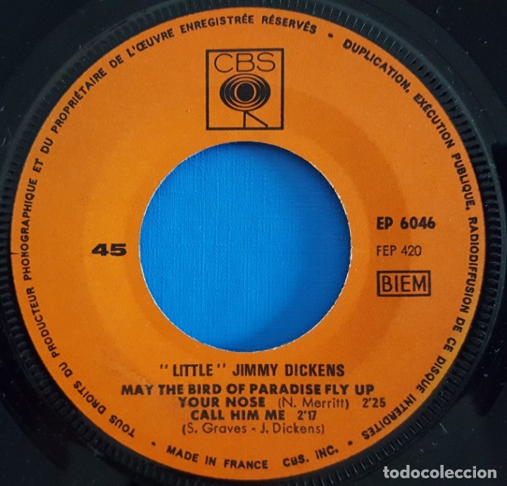Discos de vinilo: EP / LITTLE JIMMY DICKENS / MAY THE BIRD OF PARADISE FLY UP YOUR NOSE - CALL HIM ME +2 - Foto 3 - 178156565