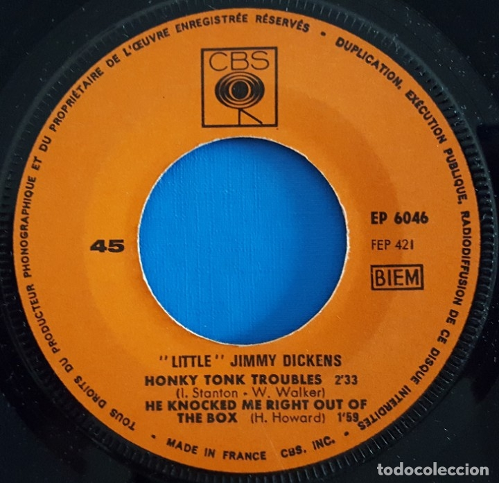 Discos de vinilo: EP / LITTLE JIMMY DICKENS / MAY THE BIRD OF PARADISE FLY UP YOUR NOSE - CALL HIM ME +2 - Foto 4 - 178156565