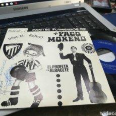 Discos de vinilo: PACO MORENO SINGLE VIVA EL BILBAO 1975 FIRMADO POR EL. Lote 178186718