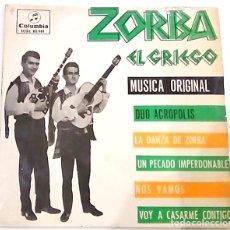 Discos de vinilo: SINGLE BANDA SONORA ORIGINAL DE ZORBA EL GRIEGO DE 1965. Lote 178196560