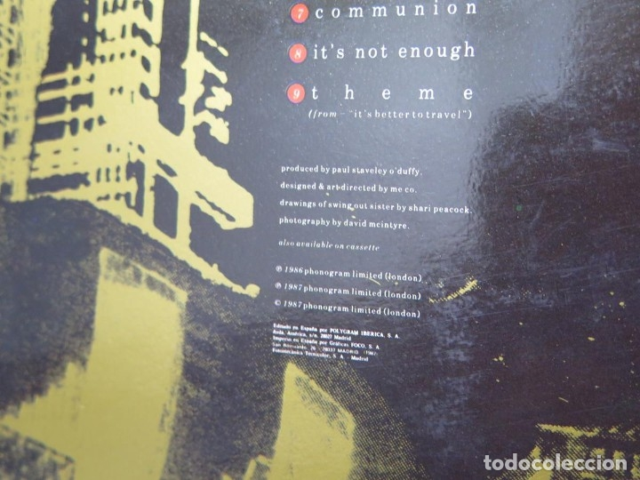 Discos de vinilo: SWING OUT SISTER - IT´S BETTER TO TRAVEL (LP-Vinilo) AÑO -1987 - COMO NUEVO,CALIDAD - Foto 12 - 178219338