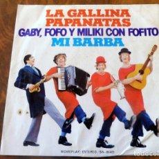 Discos de vinilo: DISCO - SINGLE - MOVIE PLAY 1974 - GABY, FOFO Y MILIKI CON FOFITO - LA GALLINA PAPANATAS. Lote 178224777