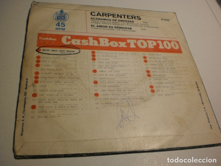 Discos de vinilo: single carpenters acabamos de empezar. el amor es rendirse. hispavox 1970 spain (probado y bien) - Foto 2 - 178225892
