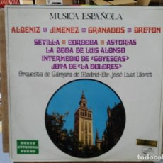 Discos de vinilo: ORQUESTA DE CÁMARA DE MADRID, DIR. JOSÉ LUIS LLORET - MÚSICA ESPAÑOLA - LP. DEL SELLO ZAFIRO 1969. Lote 178260807