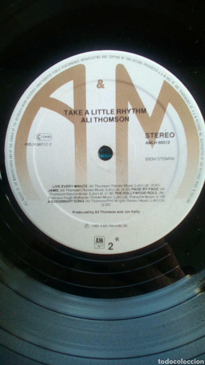Discos de vinilo: Ali Thomson - Take a little rhythm, A&M Records, 1980. Holland. - Foto 9 - 178285337