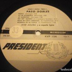 Discos de vinilo: JOSÉ AGUIRA Y SU ORQUESTA TYPICA – UNO.DOS. TRES.TANGOS Y PASO-DOBLES. Lote 178327110