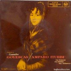 Discos de vinilo: GOYESCAS, GRANADOS. AMPARO ITURBI. DOBLE SINGLE ESPAÑA, 2 DISCOS. Lote 178339936