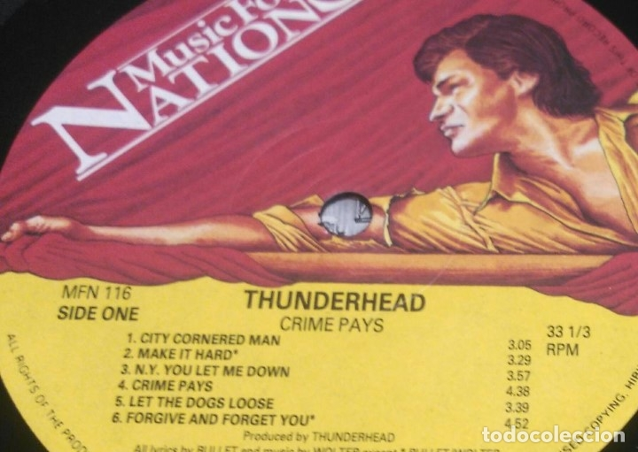 Discos de vinilo: Thunderhead – Crime Pays ENGLAND-1991 LP MUSIC FOR NATIONS - Foto 5 - 178560547