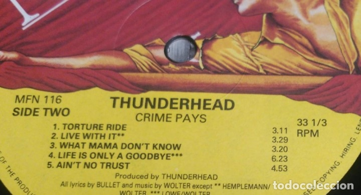 Discos de vinilo: Thunderhead – Crime Pays ENGLAND-1991 LP MUSIC FOR NATIONS - Foto 6 - 178560547