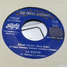 Discos de vinilo: LES CHATS SAUVAGES EP PROMOCIONAL JOLIE FILLE + 3 ESPAÑA 1964. Lote 178611017