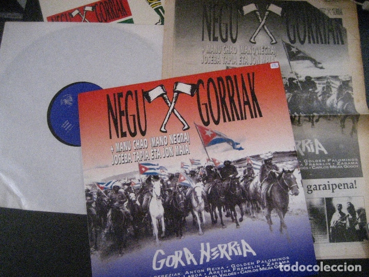 NEGU GORRIAK MANU CHAO ETC GORA HERRIA MINI LP 1991 CON PERIODICO COMO NUEVO (Música - Discos - LP Vinilo - Punk - Hard Core)