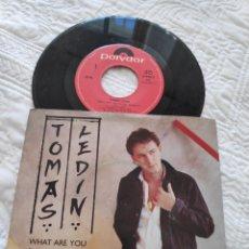 Discos de vinilo: TOMAS LEDIN - WHAT ARE YOU DOING TONIGHT - SINGLE VINILO - CORISTA DE ABBA.. Lote 178652230