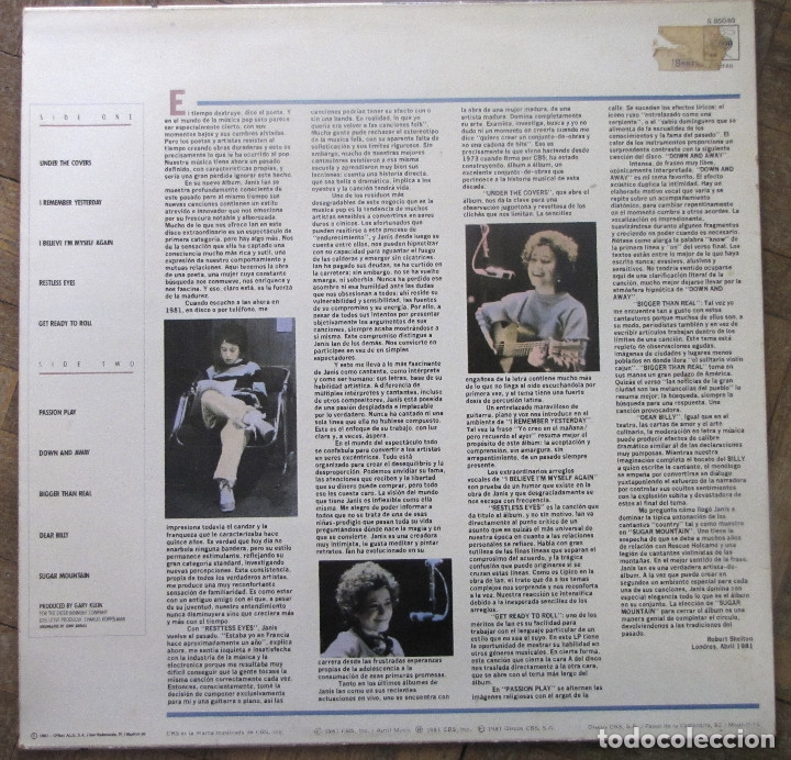 Discos de vinilo: Janis Ian. Restless eyes. CBS, S 85040. España, 1981. Funda VG++. Disco VG++. - Foto 2 - 178663795