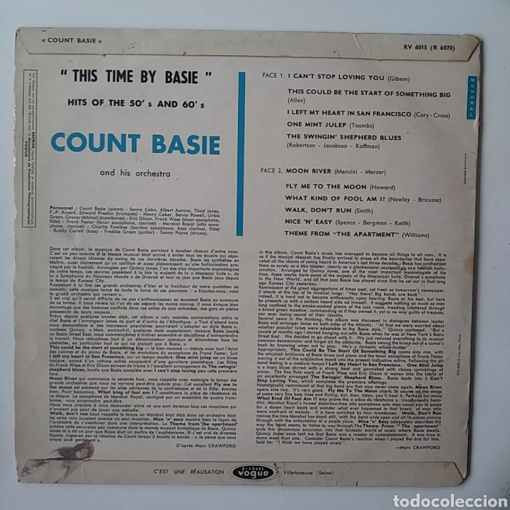 Discos de vinilo: Count basie: this time by basie.hits of 50s& 60s. - Foto 2 - 178689832