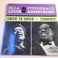 Discos de vinilo: ELLA FITZGERALD - LOUIS ARMSTRONG, EP, CHEEK TO CHEEK + 1, AÑO 19?? MADE IN FRANCE. Lote 178811243