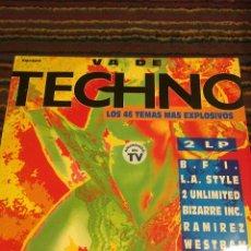 Discos de vinilo: VA DE TECHNO MEGAMIX, LOS 46 TEMAS MAS EXPLOSIVOS, 2 LP.. Lote 178843640