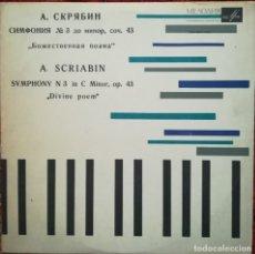 Discos de vinilo: SCRIABIN. SINFONÍA N. 3, POEMA DIVINO. SELLO MELODÍA, RUSIA. Lote 178872990